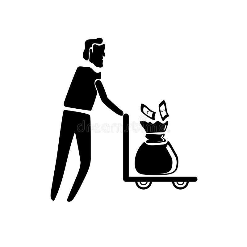 Vecteur de transport d'icône d'argent d'homme d'isolement sur le fond blanc, signe de transport d'argent d'homme, illustrations d illustration libre de droits