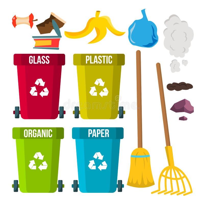 Vecteur de tri et de nettoyage de déchets Réutilisez les coffres séparation dump Problème écologique Bande dessinée plate d'isole illustration libre de droits