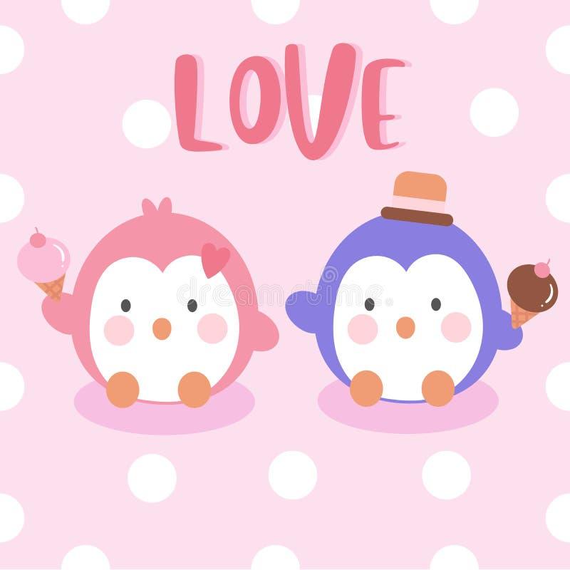 Vecteur de vacances d'été de glace d'anniversaire de carte de Saint Valentin d'amour de vecteur de couples de pingouins illustration libre de droits