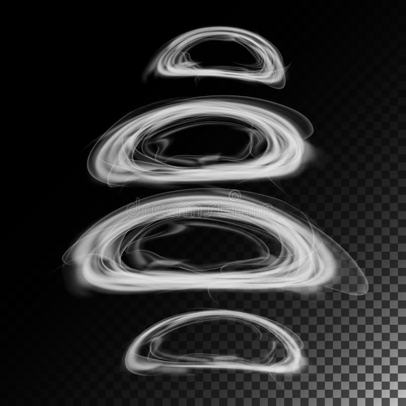Vecteur de vagues réaliste de fumée de cigarette illustration 3D Symboles de tabagisme sur le gris Anneaux de fumée illustration stock