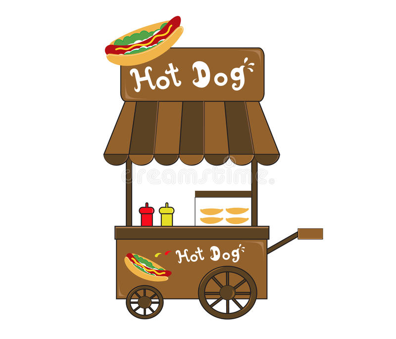 Vecteur de vendeur de hot-dog de support de cabine illustration de vecteur