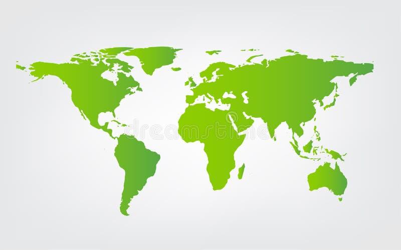 Vecteur de vert de carte du monde d'isolement sur le fond blanc illustration libre de droits