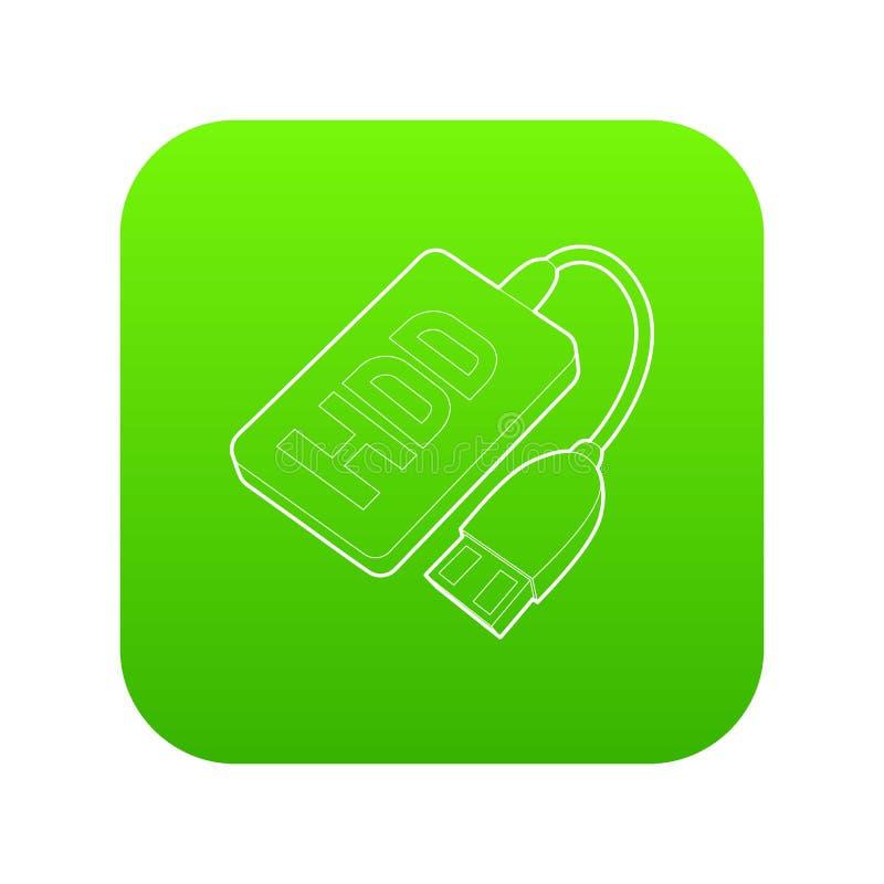 Vecteur de vert d'icône de fil de Hdd illustration libre de droits