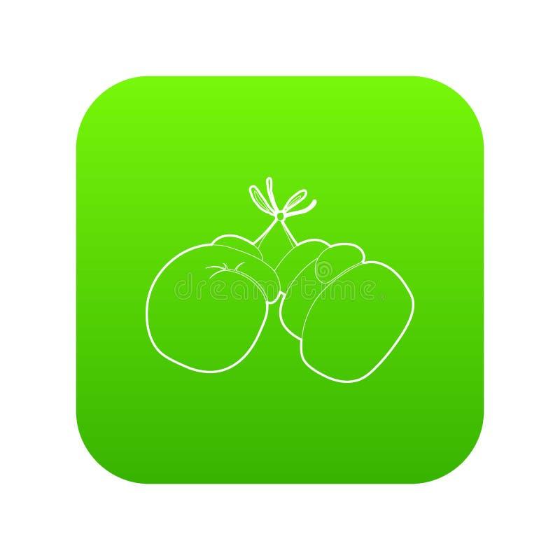 Vecteur de vert d'icône de gants de boxe illustration stock
