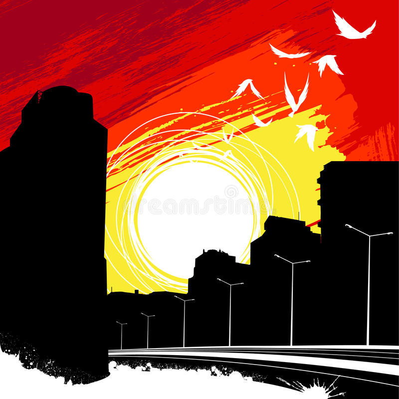 Vecteur de ville de lever de soleil illustration de vecteur