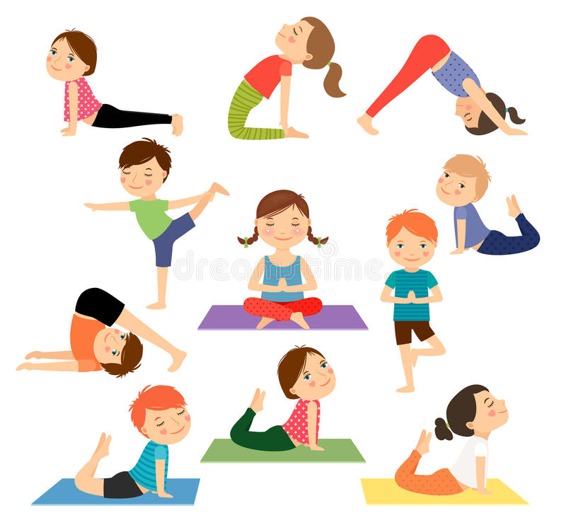Vecteur de yoga d'enfants illustration libre de droits