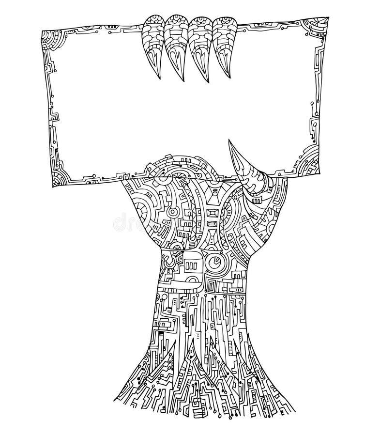 Vecteur de zentangle de main de Ghost dans Halloween illustration libre de droits