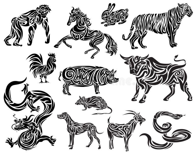 Vecteur de zodiaque chinois illustration libre de droits
