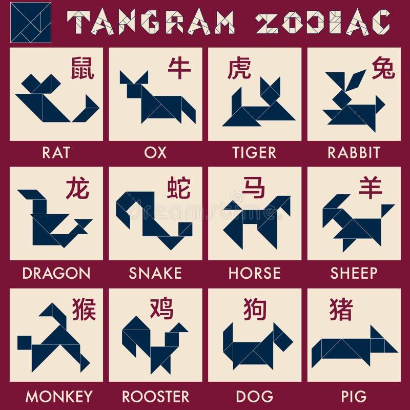 Vecteur de zodiaque de Tangram illustration de vecteur