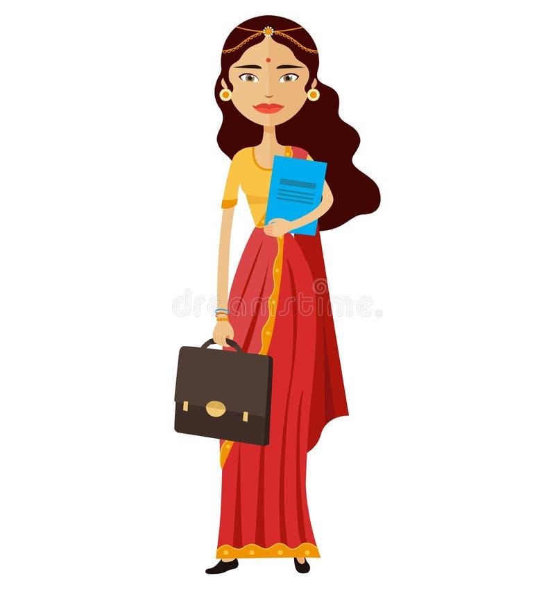 Vecteur debout de secrétaire indien plat d'affaires illustration stock