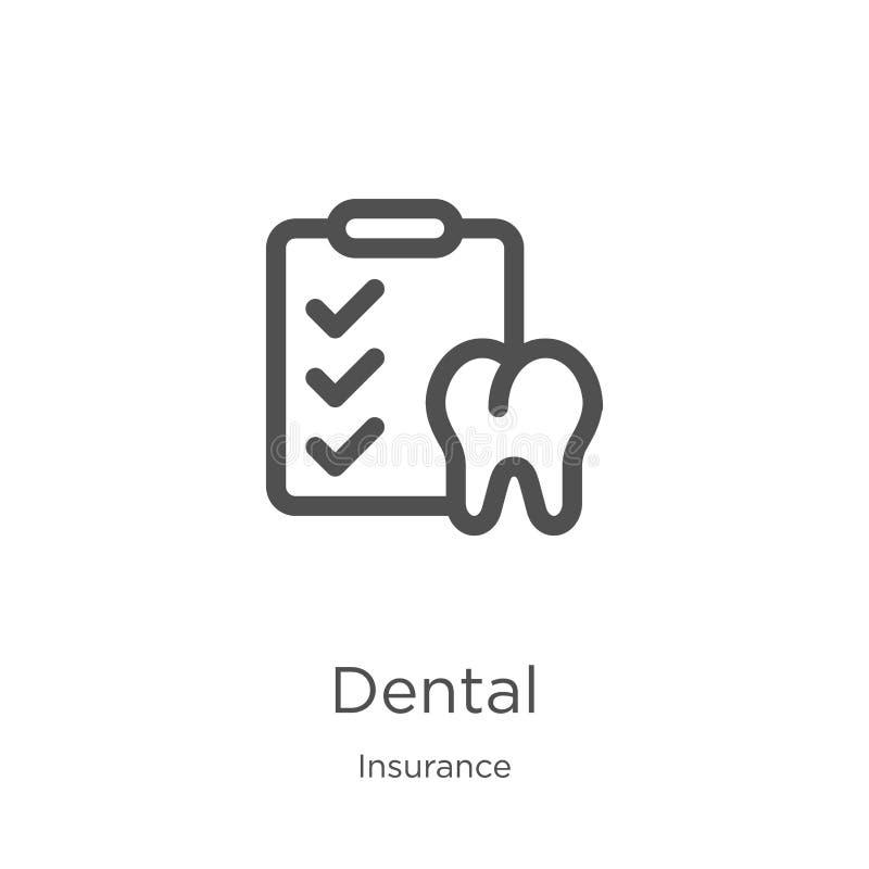 vecteur dentaire d'icône de collection d'assurance Ligne mince illustration dentaire de vecteur d'icône d'ensemble Contour, ligne illustration stock