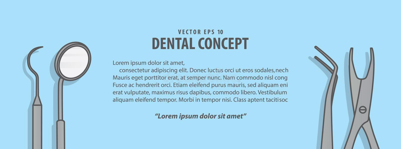 Vecteur dentaire d'illustration d'outils de disposition sur le fond bleu bosselure illustration libre de droits