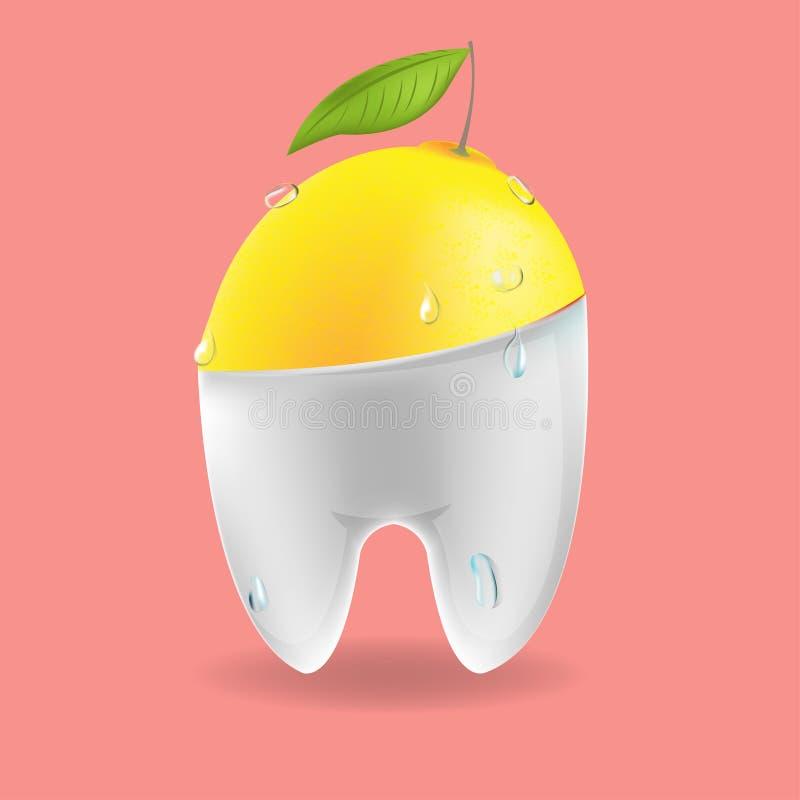 Vecteur dentaire mélangé de symbole de dent de citron illustration stock