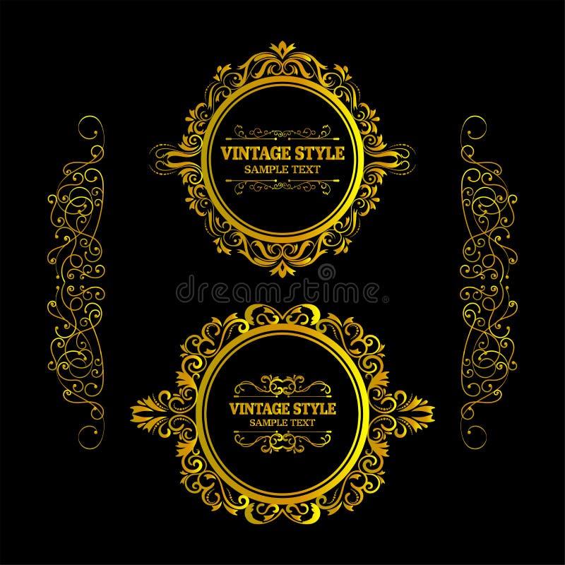Vecteur des éléments tirés par la main décoratifs de cadre d'or de vintage, frontière, cadre avec les éléments floraux pour la co illustration de vecteur