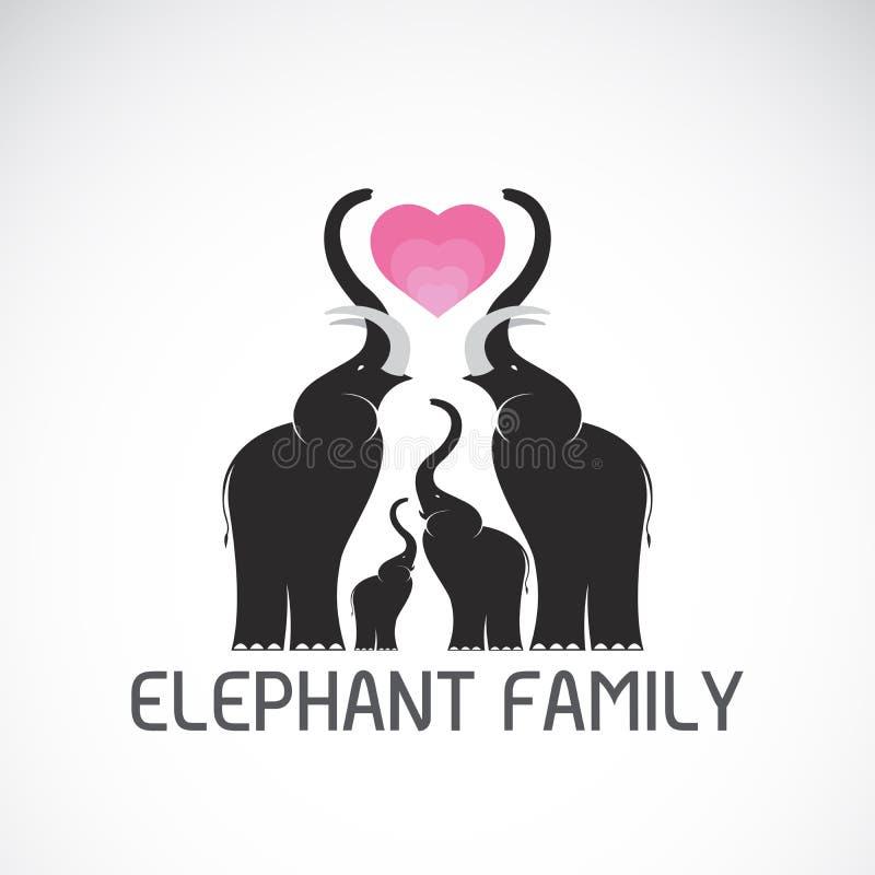 Vecteur des éléphants de famille et du coeur rose sur le fond blanc illustration de vecteur