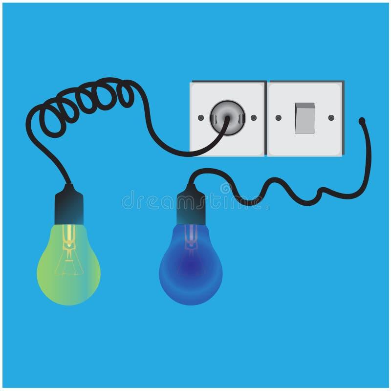 Vecteur des ampoules, des câbles, des prises, et des prises illustration de vecteur