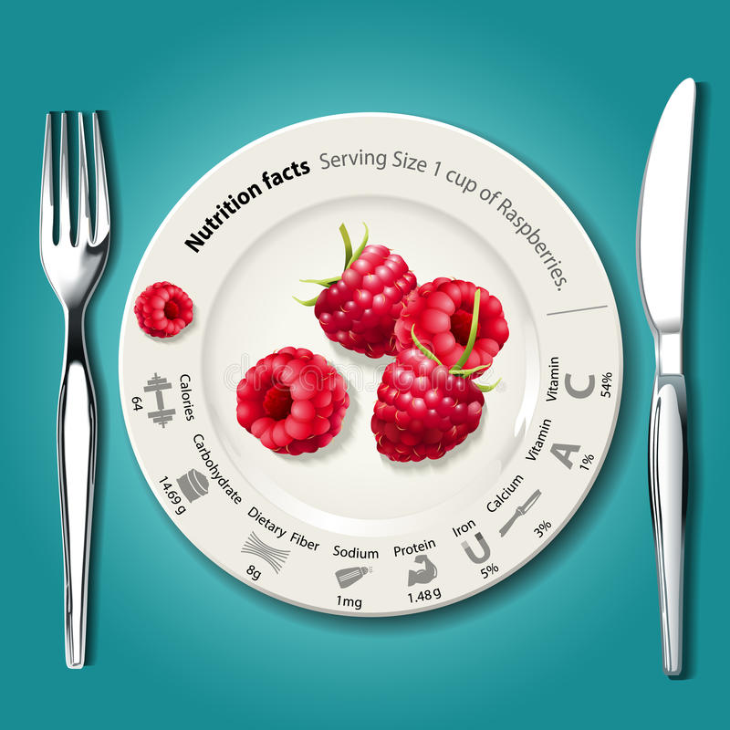 Vecteur des faits de nutrition en framboises du plat blanc avec le kni illustration stock