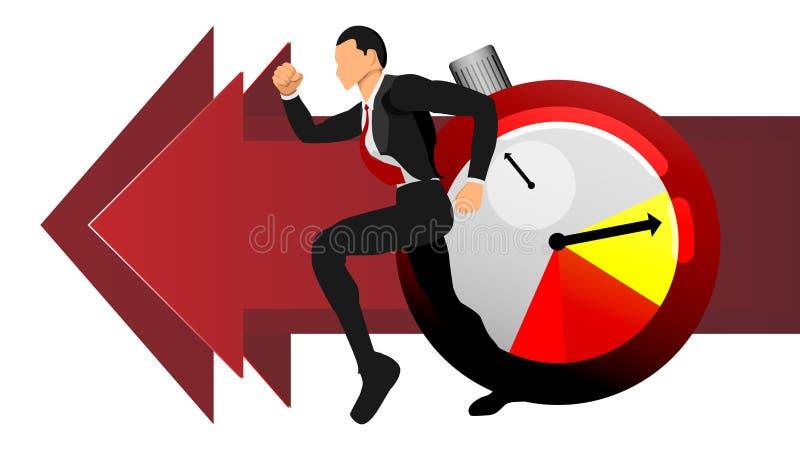 Vecteur des hommes adultes courant après temps graphique de l'information de service de renseignements d'illustration EPS10 illustration libre de droits
