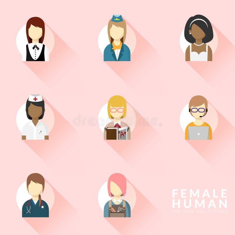 Vecteur des icônes pour l'ensemble différent de collection d'icône de profession de femme Graphismes de professions r?gl?s Concep illustration libre de droits