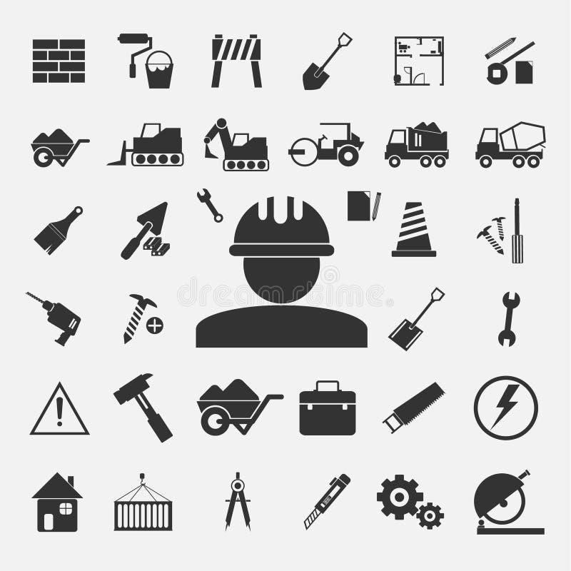 Vecteur des icônes de construction réglées photographie stock libre de droits