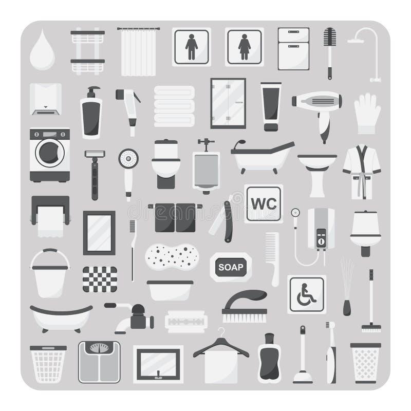 Vecteur des icônes, de l'ensemble plats de salle de bains et de toilette illustration stock