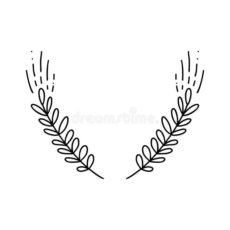 Vecteur des oreilles de blé Illustration tirée par la main botanique de monoline simple des épillets d'isolement sur le fond blan illustration stock