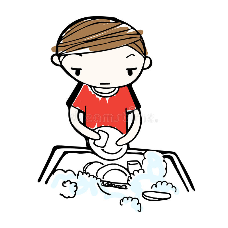 Vecteur des plats de lavage de garçon de bande dessinée dans l'évier illustration libre de droits