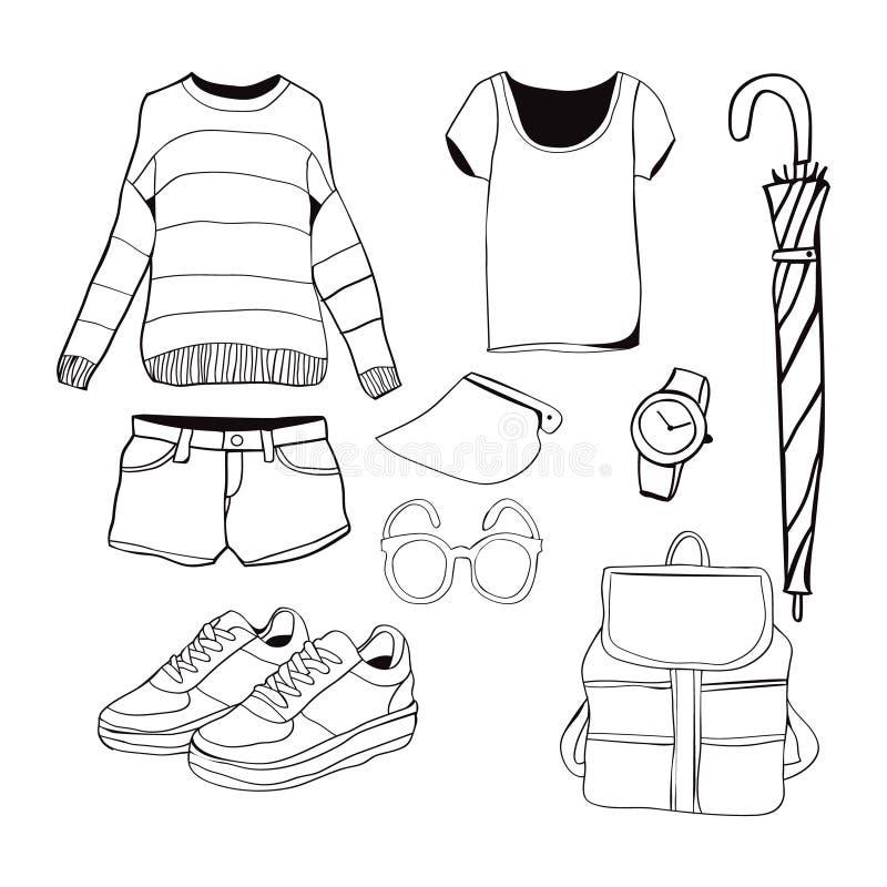 Vecteur des vêtements et des accessoires tirés par la main de mode illustration de vecteur