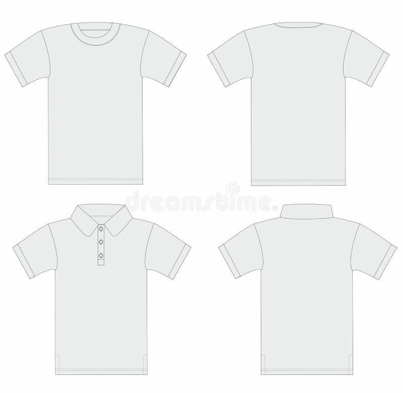 Vecteur. Descripteur du T-shirt des hommes et de la chemise de polo. illustration libre de droits