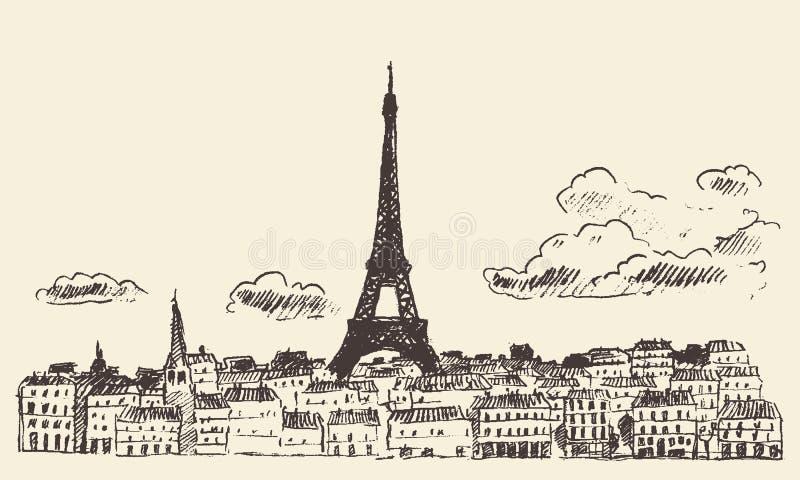 Vecteur dessiné par croquis d'Eiffel de Frances d'horizon de Paris illustration stock