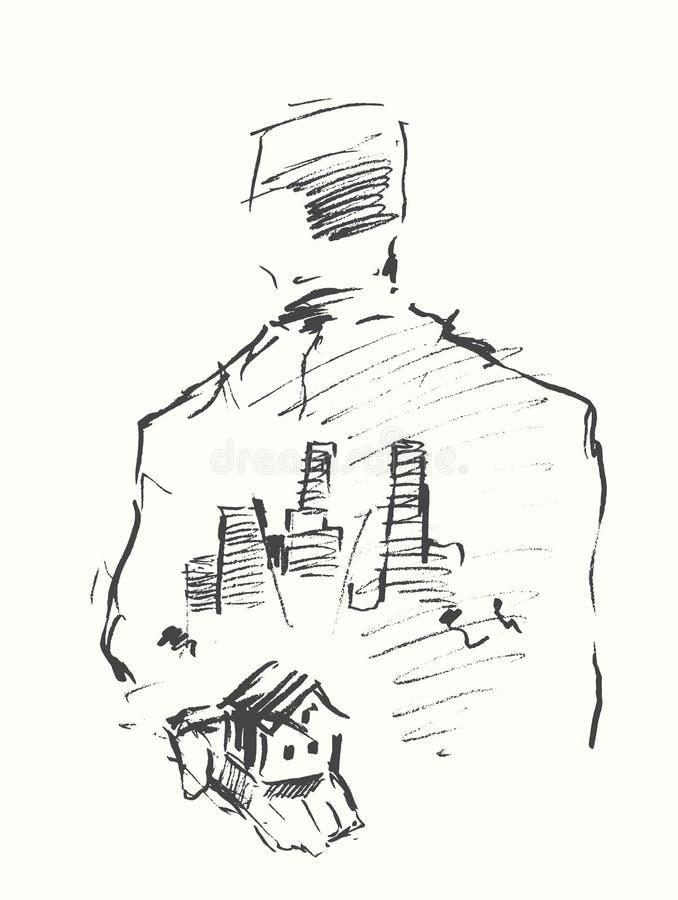 Vecteur dessiné par homme d'affaires humain de ville de main de Chambre illustration libre de droits