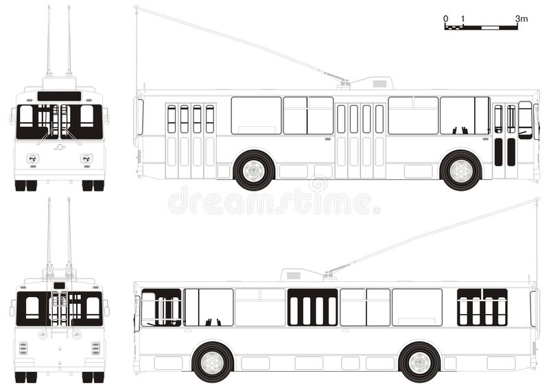 Vecteur dessinant le trolleybus urbain illustration de vecteur