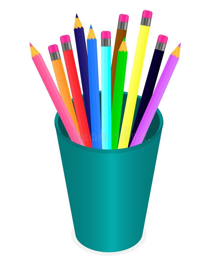 Vecteur dessinant un ensemble de crayons multicolores dans l'organisateur sur un fond blanc illustration de vecteur