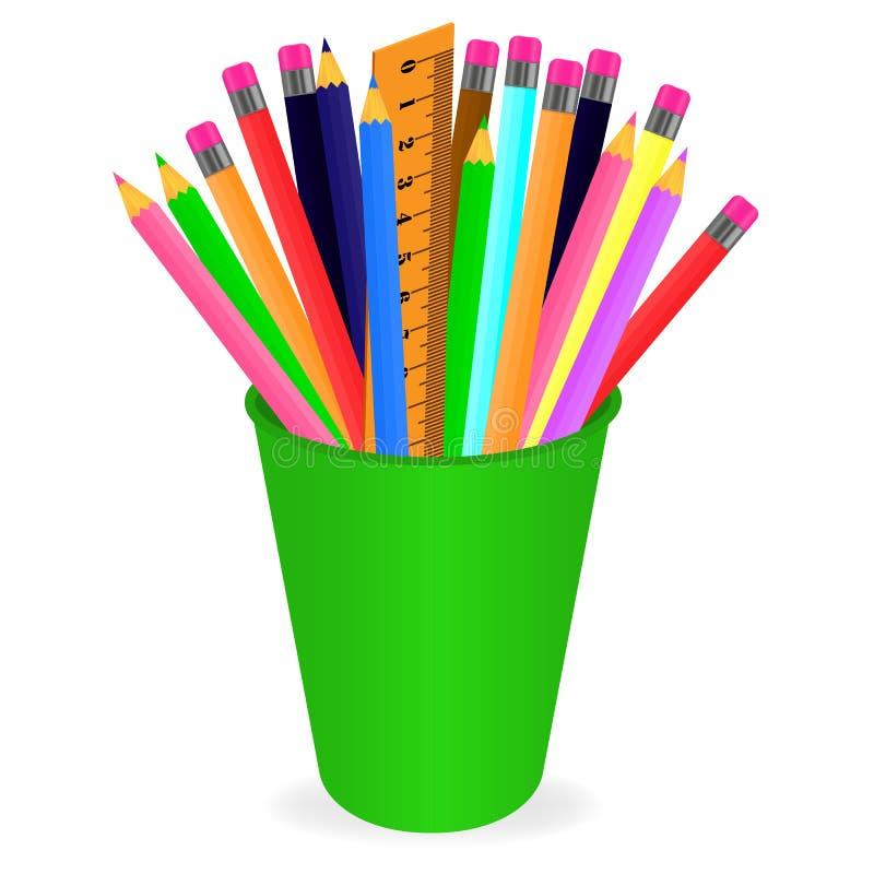 Vecteur dessinant un ensemble de crayons multicolores dans l'organisateur sur un fond blanc illustration libre de droits