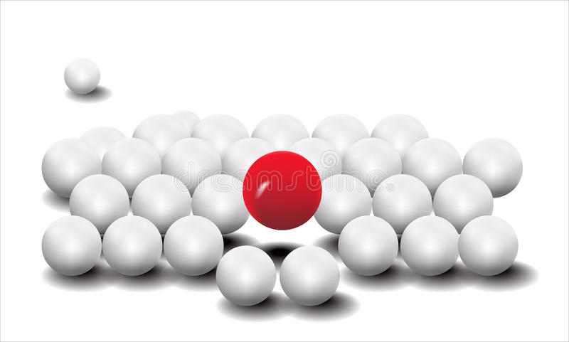 Vecteur dimensionnel de la bille blanche et rouge illustration de vecteur