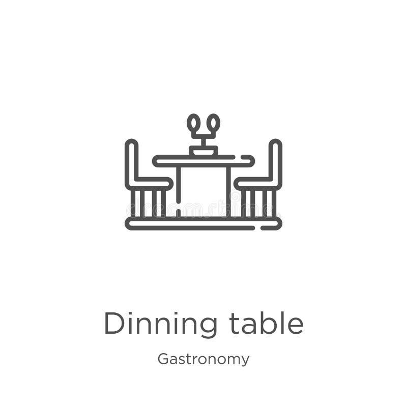vecteur dinning d'icône de table de collection de gastronomie Ligne mince illustration dinning de vecteur d'icône d'ensemble de t illustration de vecteur