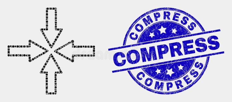 Vecteur Dot Collapse Arrows Icon et filigrane grunge de compresse illustration de vecteur