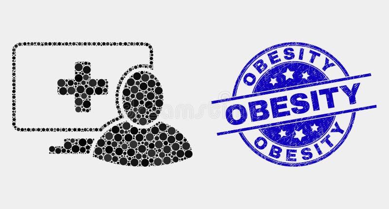 Vecteur Dot Computer Patient Icon et timbre d'obésité de détresse illustration libre de droits