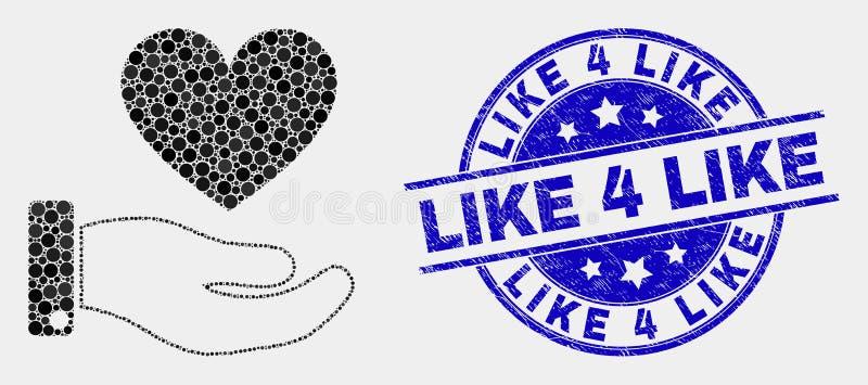 Vecteur Dot Heart Donation Hand Icon et grunge comme 4 comme le filigrane illustration stock