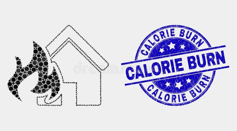 Vecteur Dot House Fire Disaster Icon et joint de timbre de brûlure de calorie de détresse illustration de vecteur