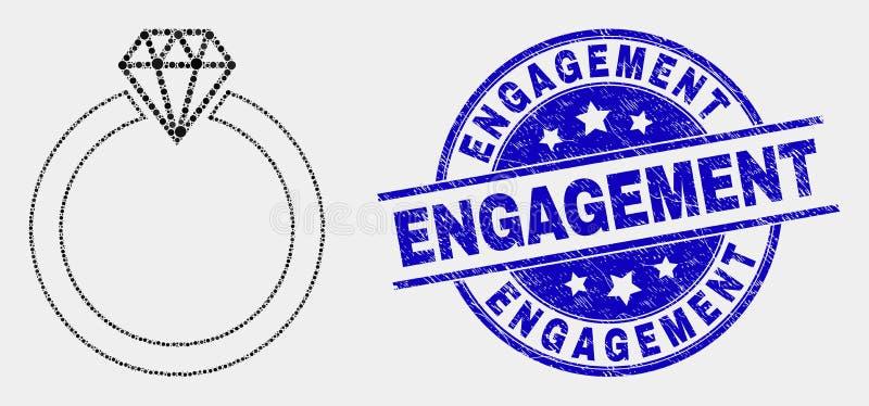 Vecteur Dot Jewelry Ring Icon et joint rayé de timbre d'engagement illustration libre de droits