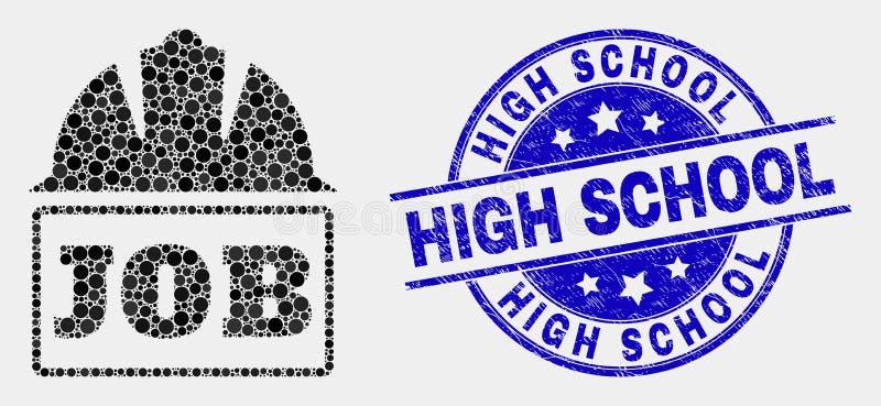 Vecteur Dot Job Helmet Icon et timbre rayé de lycée illustration stock