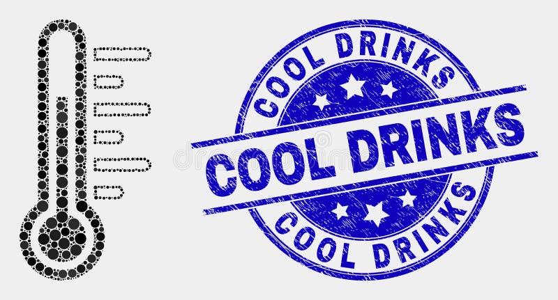 Vecteur Dot Temperature Icon et joint grunge de boissons fraîches illustration stock