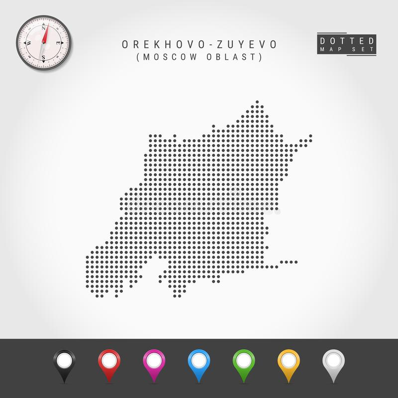 Vecteur Dots Map d'Orekhovo-Zuyevo, boussole de vecteur de Moscou Oblast Goupilles multicolores de carte illustration stock