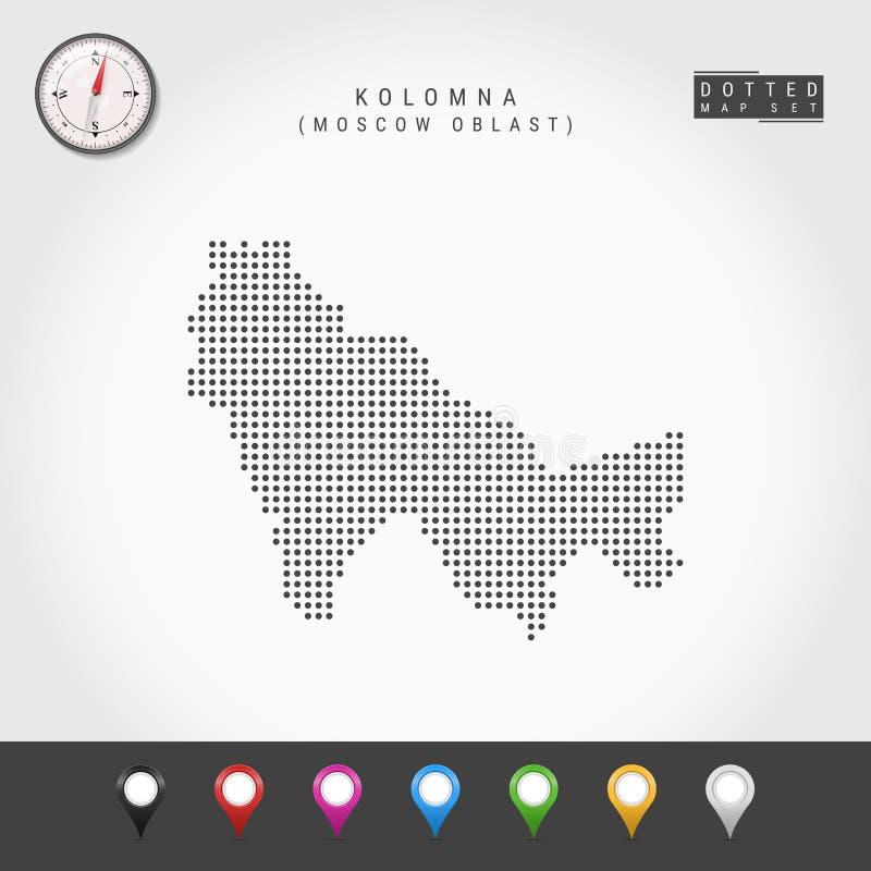Vecteur Dots Map de Kolomna, boussole de vecteur de Moscou Oblast Goupilles multicolores de carte illustration libre de droits