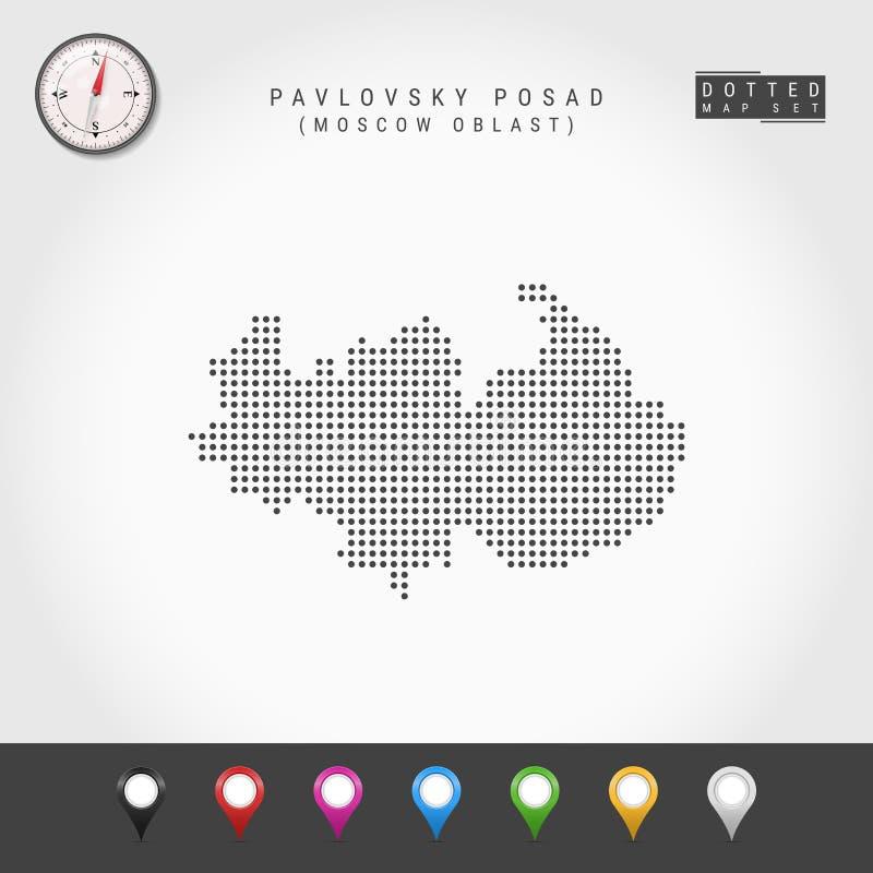 Vecteur Dots Map de Pavlovsky Posad, boussole de vecteur de Moscou Oblast Goupilles multicolores de carte illustration libre de droits