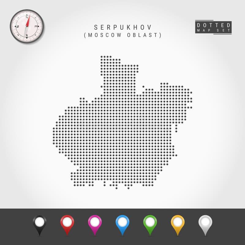 Vecteur Dots Map de Serpukhov, boussole de vecteur de Moscou Oblast Goupilles multicolores de carte illustration libre de droits