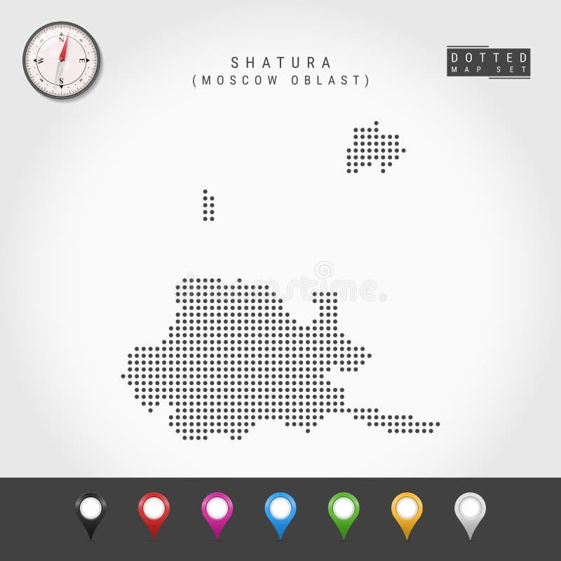 Vecteur Dots Map de Shatura, boussole de vecteur de Moscou Oblast Goupilles multicolores de carte illustration libre de droits