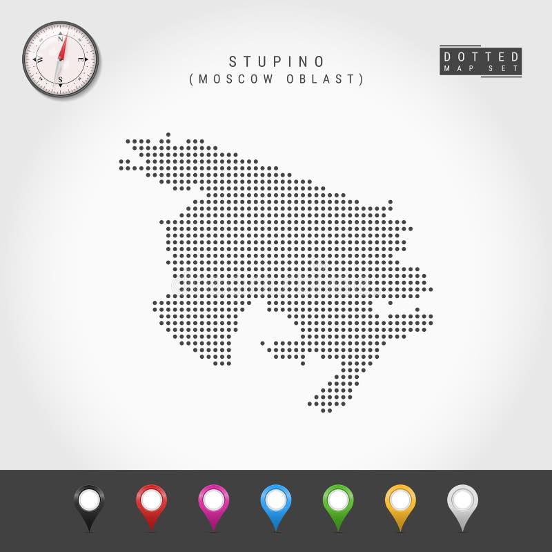 Vecteur Dots Map de Stupino, boussole de vecteur de Moscou Oblast Goupilles multicolores de carte illustration stock