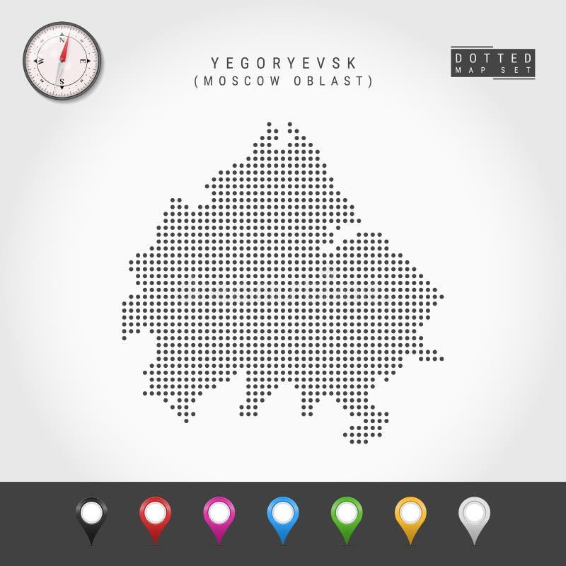 Vecteur Dots Map de Yegoryevsk, boussole de vecteur de Moscou Oblast Goupilles multicolores de carte illustration de vecteur